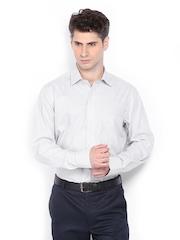Arrow Men White & Black Striped Premium Formal Fit Formal Shirt
