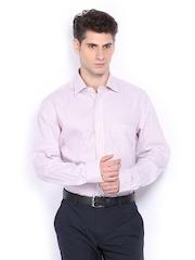 Men White & Pink Striped Premium Formal Fit Formal Shirt Arrow