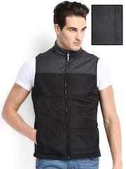 Arrow New York Men Black & Charcoal Grey Woollen Sleeveless Reversible Jacket