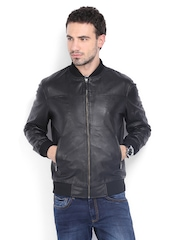 Arrow New York Men Black Leather Jacket