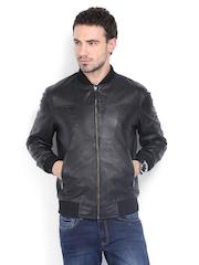 Arrow New York Men Black Leather Jacket