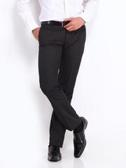 Men Black Slim Fit Formal Trousers Arrow New York