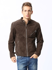 Arrow New York Men Brown Leather Jacket