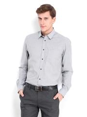 Men Grey & White Striped Slim Fit Formal Shirt Arrow New York