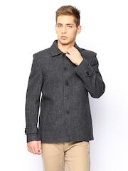 Arrow New York Men Grey & Black Wool Blend Jacket