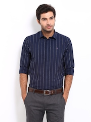 Arrow New York Men Navy & White Striped Slim Fit Smart-Casual Shirt