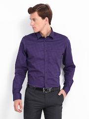Men Purple & Black Checked Slim Fit Formal Shirt Arrow New York
