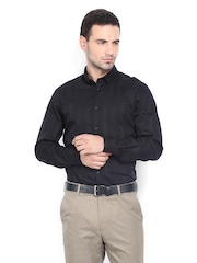 Arrow New York Men Black Striped Slim Fit Smart-Casual Shirt