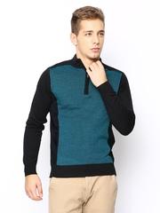 Arrow New York Men Black & Teal Blue Wool Blend Sweater