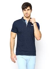 Arrow New York Men Navy Printed Polo T-shirt