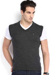 Arrow Sport Men Charcoal Grey Woollen Sweater