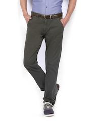 Arrow Sport Men Dark Olive Green Slim Fit Trousers