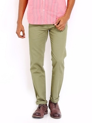Arrow Sport Men Green Slim Fit Trousers