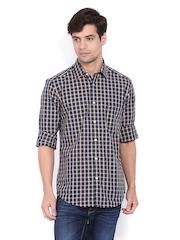 Arrow Sport Men Navy & Yellow Checked Manhattan Slim Fit Casual Shirt