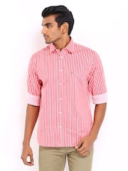 Arrow Sport Men Pink & White Striped Regular Sport Fit Casual Shirt