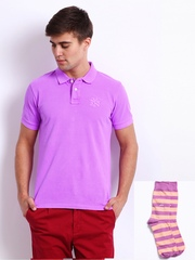 Arrow Sport Men Purple Polo T-shirt & Socks Set