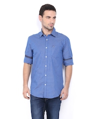 Arrow Sport Men Blue Checked Hudson Semi-Slim Smart-Casual Shirt