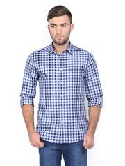 Arrow Sport Men Grey & Blue Checked Manhattan Slim Casual Shirt