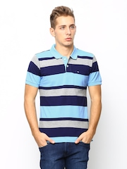 Arrow Sport Men Blue Striped Polo T-shirt