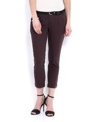 Arrow Woman Purple Slim Fit Cropped Trousers