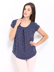 Arrow Woman Navy Polka Dot Print Top