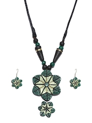 Artwood Black & Green Jewellery Set