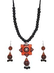 Artwood Black & Orange Jewellery Set
