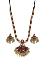 Artwood Brown & Gold Toned Jewellery Set