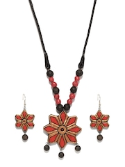 Artwood Orange & Gold Toned Jewellery Set