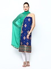 Aryahi Royal Blue & Teal Green Embroidered Unstitched Dress Material