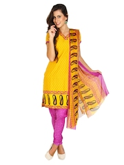 Aryahi Yellow & Purple Crepe Unstitched Dress Material