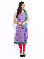 Aryahi Lavender & Green Poly Cotton Unstitched Dress Material