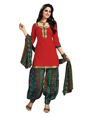 Aryahi Red & Green Poly Cotton Unstitched Dress Material