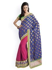 Blue & Pink Banarasi Silk Partywear Saree Ashika