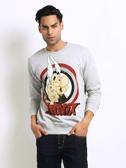 Asterix Men Grey Melange Printed Sweatshirt
