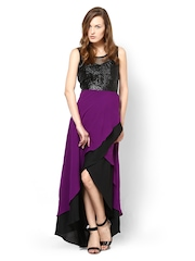 Athena Purple & Black Maxi Dress