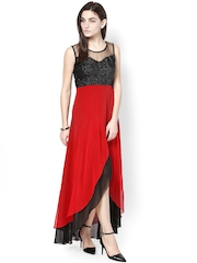Athena Black & Red Georgette Maxi Dress