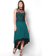 Athena Teal Green & Black High Low Dress
