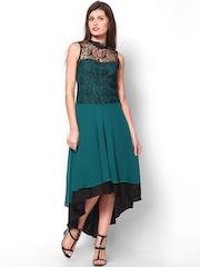 Athena Teal Green & Black High Low Dress