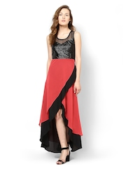 Athena Red & Black Maxi Dress