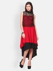 Athena Red & Black Hi-Low Dress