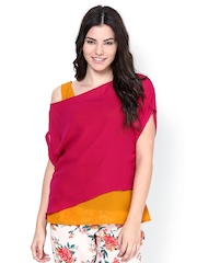 Athena Women Wine-Coloured & Mustard Yellow Top