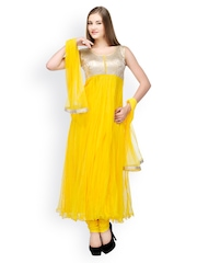 Aujjessa Women Yellow Net Anarkali Salwar Suit