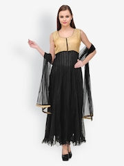 Aujjessa Women Black Anarkali Net Churidar Kurta with Dupatta