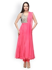 Aujjessa Women Pink Embroidered Anarkali Churidar Kurta with Dupatta