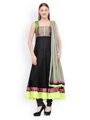 Aujjessa Women Black Net Anarkali Salwar Suit