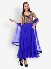 Aujjessa Women Blue Anarkali Net Churidar Kurta with Dupatta