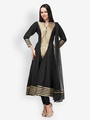 Aujjessa Women Black Embroidered Anarkali Salwar Suit With Dupatta