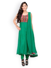 Aujjessa Women Green Embroidered Anarkali Churidar Kurta with Dupatta