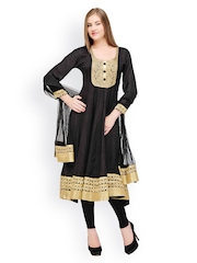 Aujjessa Women Black Net Anarkali Churidar Kurta with Dupatta
